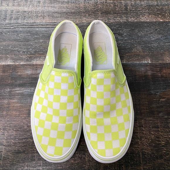 Vans Shoes | Lime Green Checkered Slip
